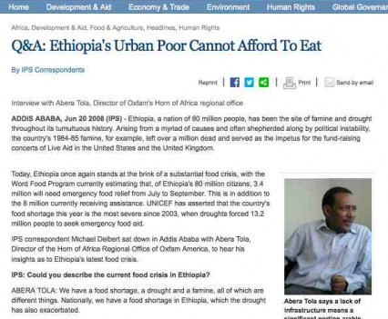 Inter Press Service, Ethiopia, Food Crisis