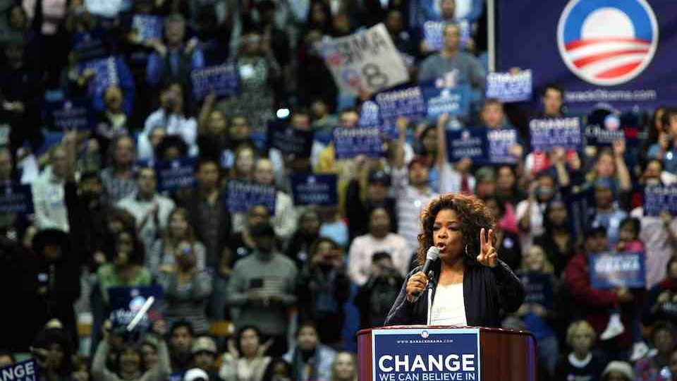 OPRAH WINFREY SPEAKS AT A BARACK OBAMA RALLY IN LOS ANGELES