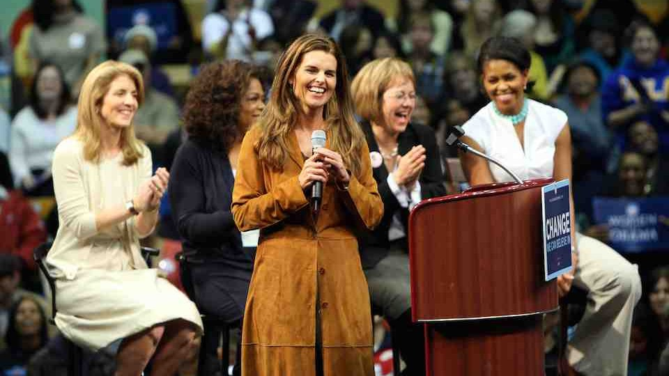 MARIA SHRIVER SPEAKS AT A BARACK OBAMA RALLY IN LOS ANGELES